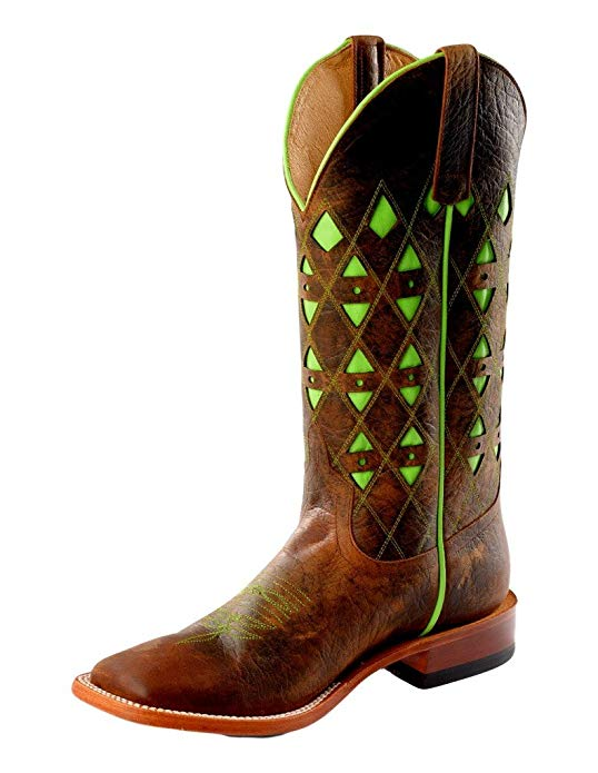 Horse Power Men's HP1783 Pull-On Leather Western Boots Toast Bison/Lime Green