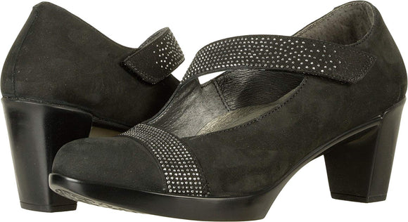 NAOT Women's Abbracci Suede Embellished Mary Janes Black