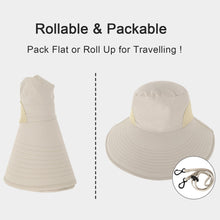 Load image into Gallery viewer, Women UPF 50+ UV Sun Protect Travel Foldable Bucket Sun Hat w/ Neck Flap & Chin Strap
