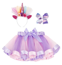 Load image into Gallery viewer, Girls Rainbow Layered Tulle Tutu Skirt w/ Unicorn Headband & Hair Bow
