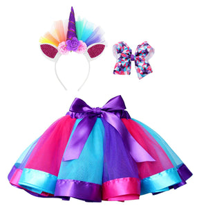 Girls Rainbow Layered Tulle Tutu Skirt w/ Unicorn Headband & Hair Bow
