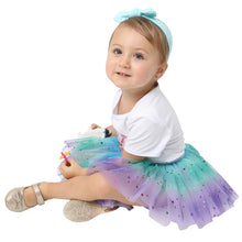 Load image into Gallery viewer, Baby 4 Layered Tulle Tutu Skirt Girls Rainbow Sparkle Tutu