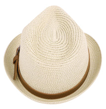 Load image into Gallery viewer, Men/Women Panama Style Trilby Fedora Straw Sun Hat