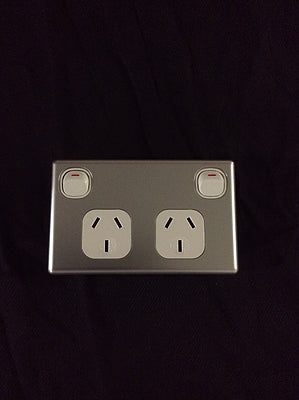GPO - Silver Double outlet 250V 10A