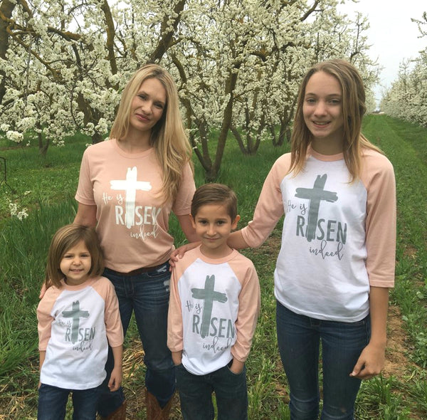 He is Risen Indeed Heather Peach Sleeve Raglan