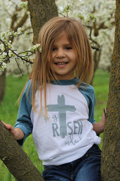He is Risen Indeed Blue Sleeve Raglan