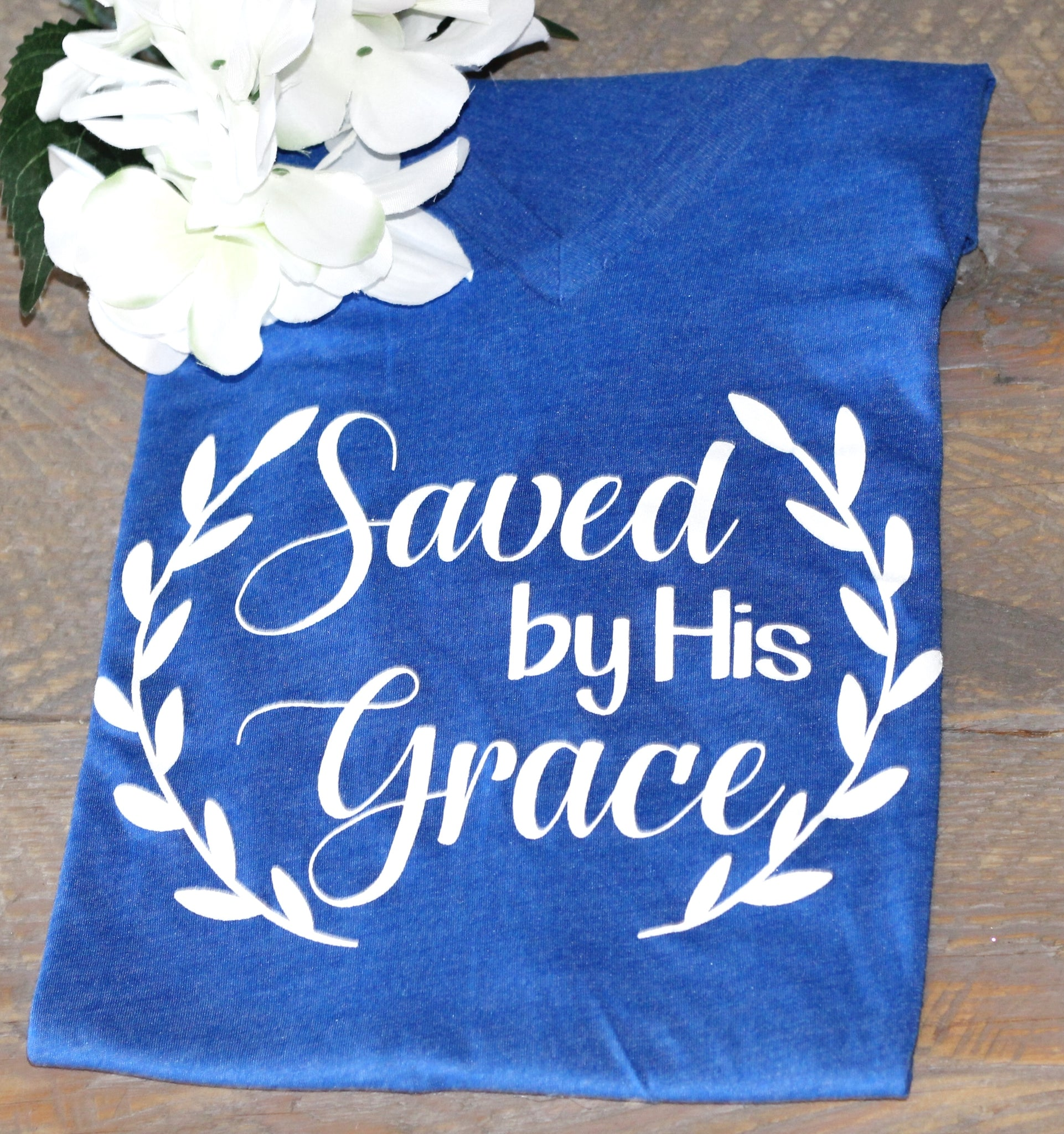 Saved by His grace Royal Blue