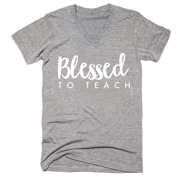 Blessed to Teach Heather Grey Vneck Unisex Tshirt