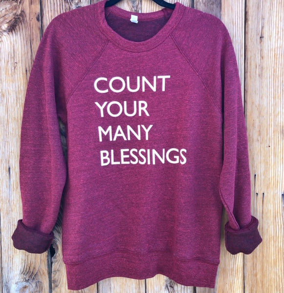 Count Your Many Blessings Pullover Cardinal Sweatshirt