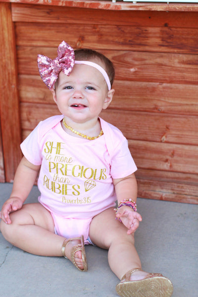 More Precious than Rubies Pink Bodysuit - baby shower gift - baby girl outfit - newborn gift pink & gold