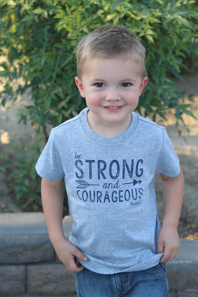 Be Strong and Courageous Grey Tshirt, Joshua 1:9, Boys Christian shirt, Jesus, Faith Based Apparel