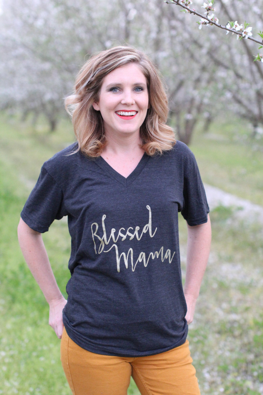 2bd404e653a11 Blessed Mama Shirt - Mom Shirt - Mom Life Vneck - Mama TShirt - Ladies –  Love Blooms Here Shop