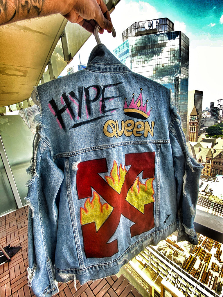 HYPE QUEEN (Ladies Denim Ripped Jacket)