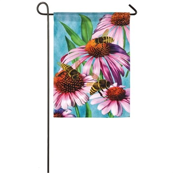 BEES AND CONEFLOWER GARDEN SATIN FLAG