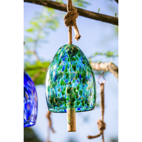 ART GLASS SPECKLE TURQUOISE BELL CHIME