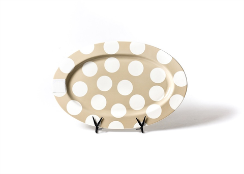 HAPPY EVERYTHING NEUTRAL DOT BIG 20 OVAL ENTERTAINING PLATTER