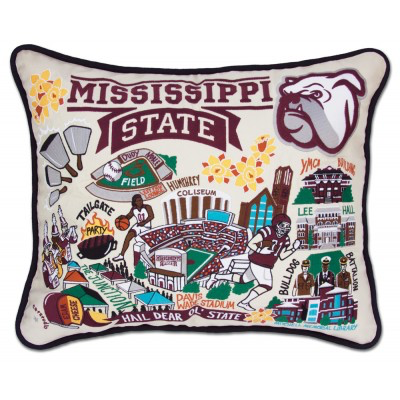 MISSISSIPPI STATE UNIVERSITY PILLOW BY CATSTUDIO