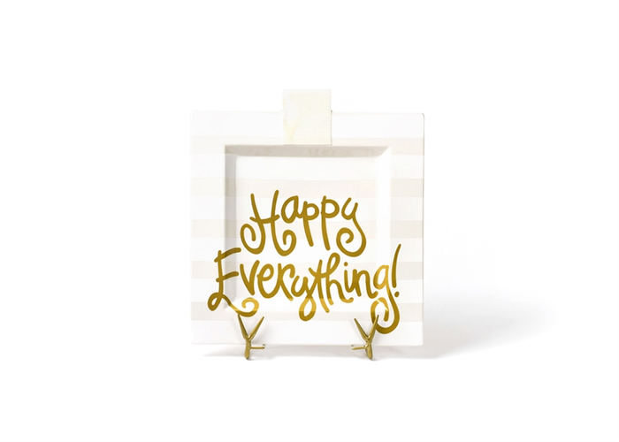 HAPPY EVERYTHING WHITE STRIPE  BIG SQUARE PLATTER