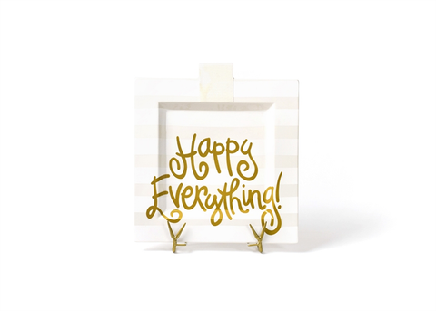 HAPPY EVERYTHING WHITE STRIPE  BIG SQUARE PLATTER, Happy Everything - A. Dodson's