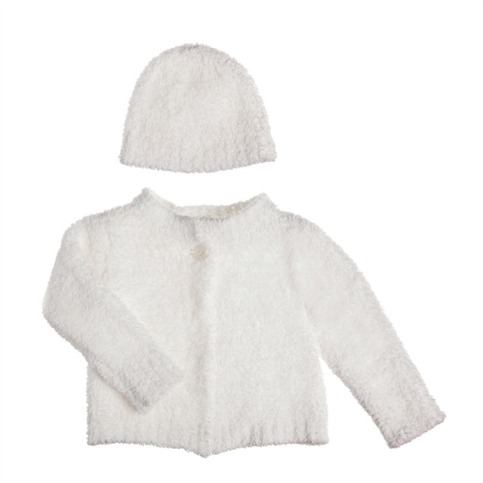 LUXE CHENILLE BABY CARDIGAN AND HAT SET - WHITE