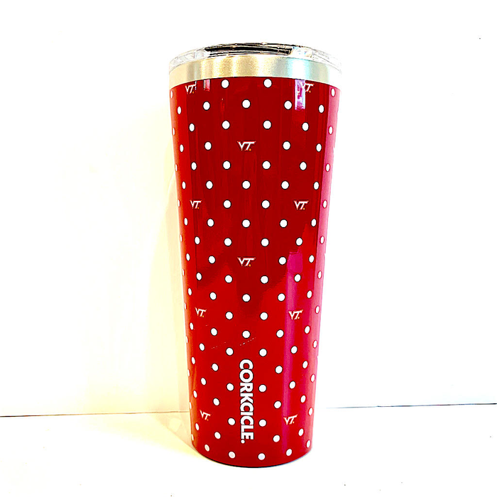 24oz POLKA DOT- VIRGINIA TECH VT- TUMBLER CORKCICLE