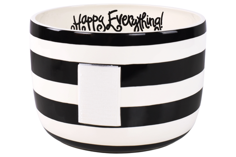 HAPPY EVERYTHING BLACK STRIPE BIG BOWL {product_vendor} - A. Dodson's