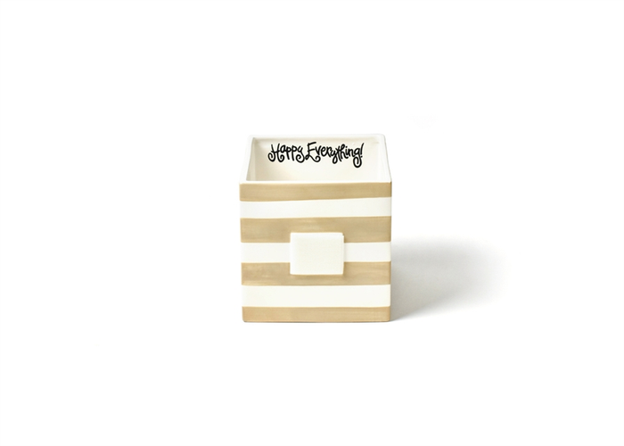 HAPPY EVERYTHING NEUTRAL STRIPE MINI NESTING CUBE MEDIUM