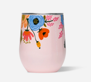 12oz GLOSS BLUSH - LIVELY FLORAL RIFLE PAPER STEMLESS CORKCICLE