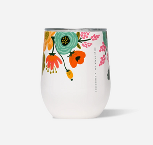 12oz GLOSS CREAM - LIVELY FLORAL RIFLE PAPER STEMLESS CORKCICLE