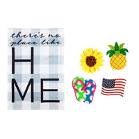 No Place Like Home Interchangeable Icon Garden Burlap Flag