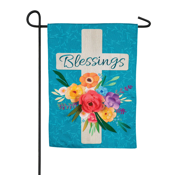 Blessings Floral Cross Garden Linen Flag