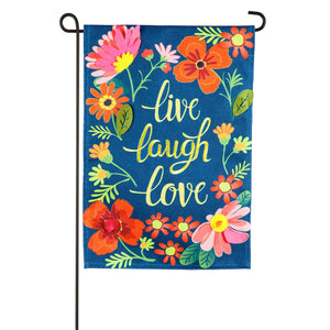 Live Laugh Love Floral Garden Burlap Flag