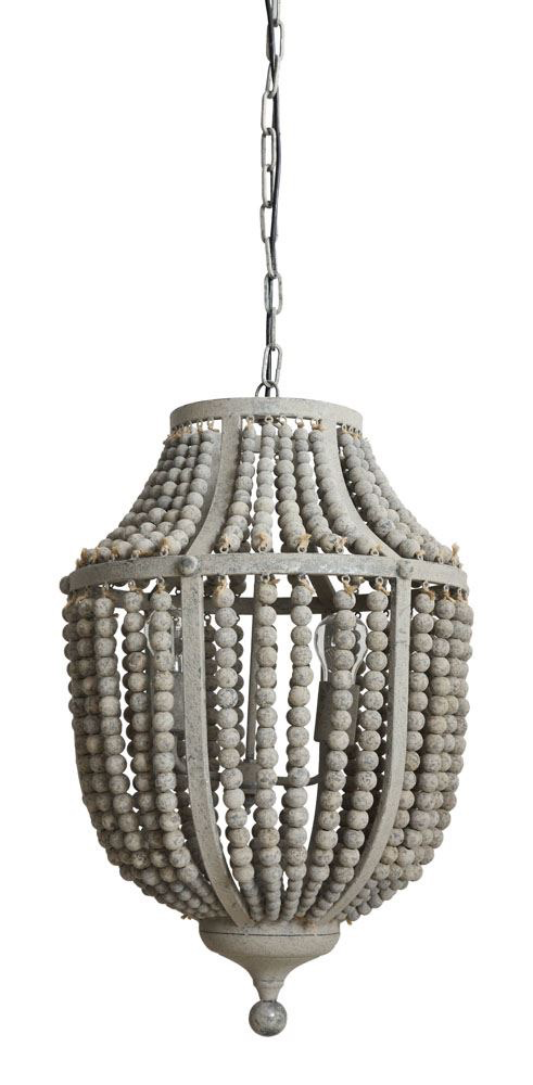 "17"" L WOOD BEAD AND METAL CHANDELIER"
