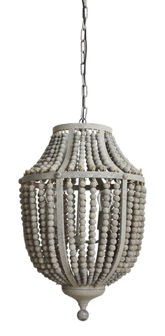 "17"" L WOOD BEAD AND METAL CHANDELIER, Creative Co-op - A. Dodson's"