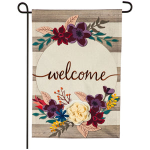 Fall Stripes Welcome Garden Linen Flag