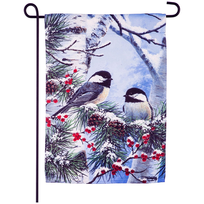 Winter Chickadee Friends Garden Suede Flag