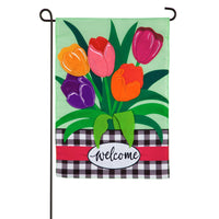 Welcome Spring Tulips Garden Applique Flag