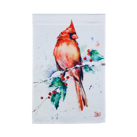 Cardinal and Holly Garden Satin Flag