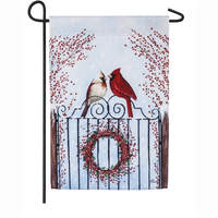 WINTER BIRDS AND BERRIES GARDEN SATIN FLAG, Evergreen - A. Dodson's