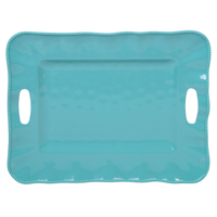 "PERLETTE TEAL TRAY WITH HANDLES 19"" X 15"", Certified International - A. Dodson's"