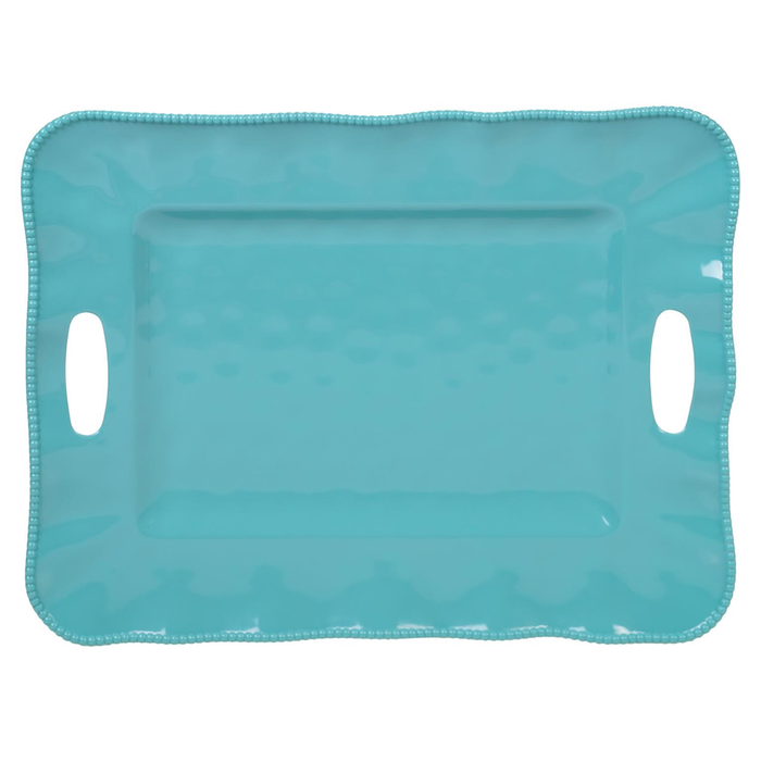 "PERLETTE TEAL TRAY WITH HANDLES 19"" X 15"""