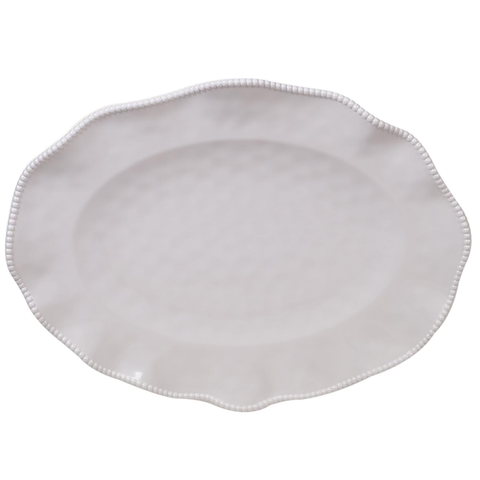 "PERLETTE CREAM OVAL PLATTER 18"" X 13.5"", Certified International - A. Dodson's"