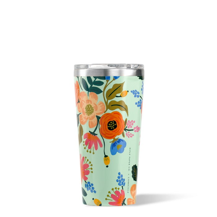 16oz GLOSS MINT  LIVELY FLORAL RIFLE PAPER TUMBLER CORKCICLE