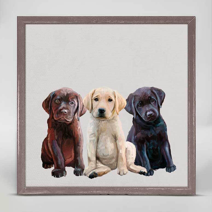 LAB PUPPIES RUSTIC NATURAL MINI FRAMED CANVAS - 6x6