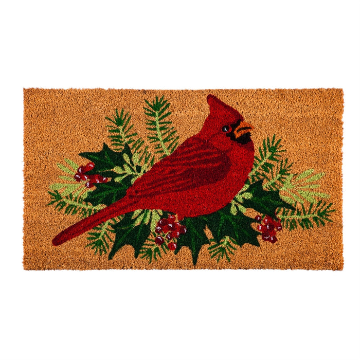 Winter Cardinal Coir Mat