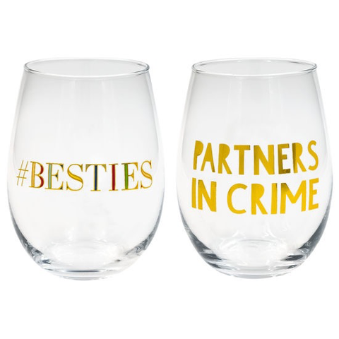 BESTIES/PARTNERS IN CRIME WINE GLASS SET, ABOUT FACE DESIGNS - A. Dodson's