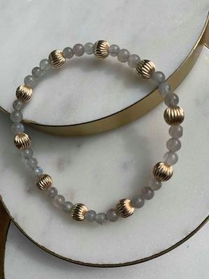 LABRADORITE SINCERITY PATTERN 4MM BEAD BRACELET - DIGNITY GOLD 6MM, Enewton - A. Dodson's