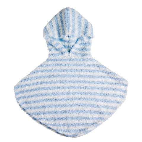 LUXE CHENILLE BABY HOODED PONCHO - BLUE, Evergreen - A. Dodson's