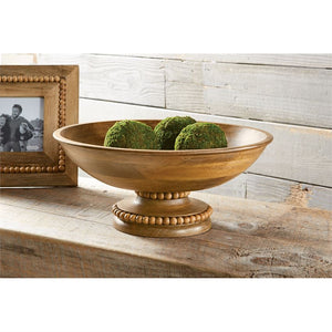 MANGO BEADED WOOD PEDESTAL BOWL