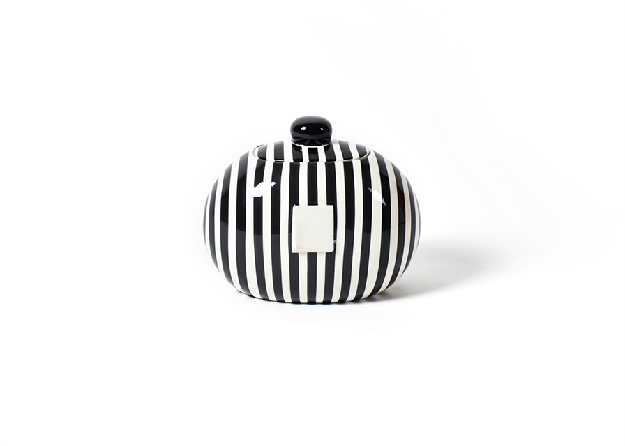 HAPPY EVERYTHING BLACK STRIPE MINI COOKIE JAR {product_vendor} - A. Dodson's